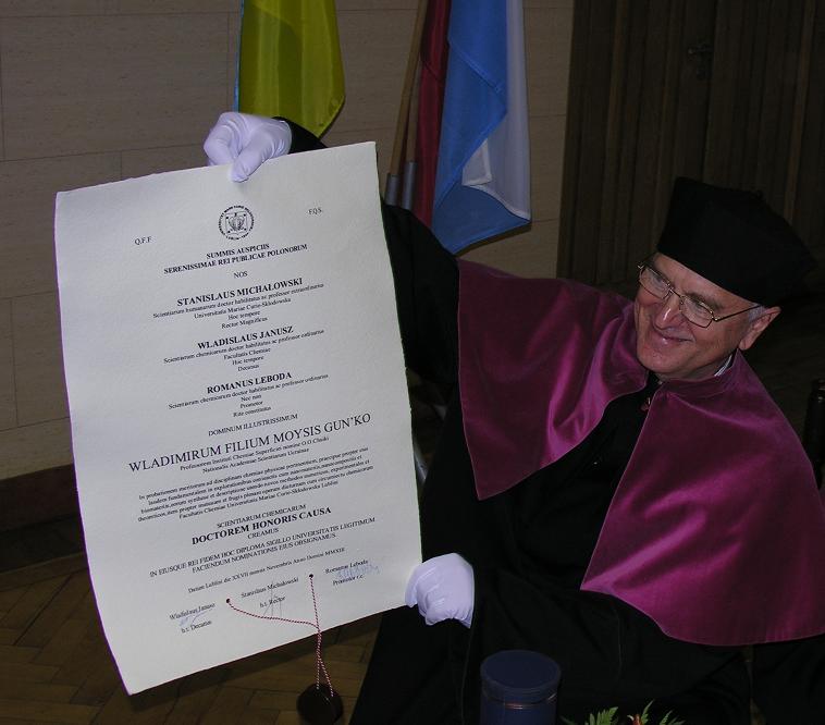 Conferment of  the  title of Doctor Honoris Causa to  Professor Vladimir Moiseyevich Gun'ko